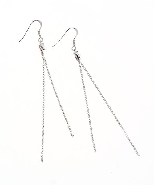 Cercei argint cu lanturi subtiri