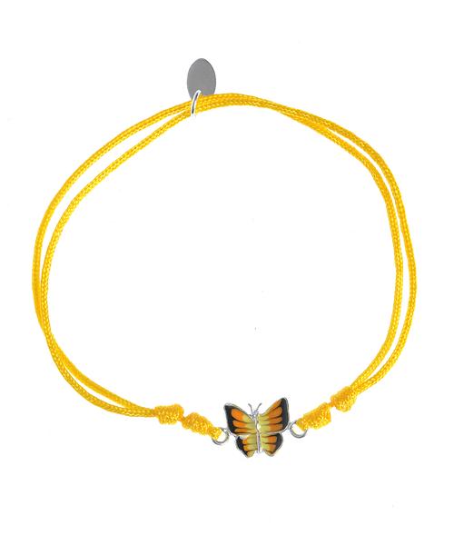 Bratara snur galben, fluture argint