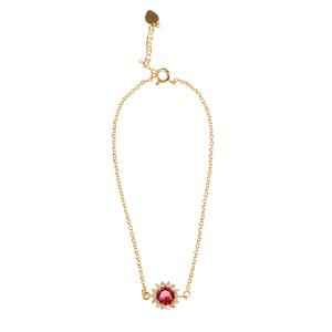 Bratara placata cu aur cu pandantiv rosu