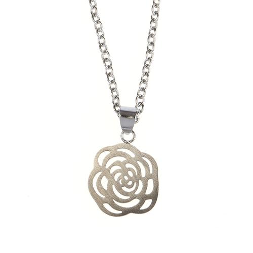 Colier argintiu pandantiv trandafir