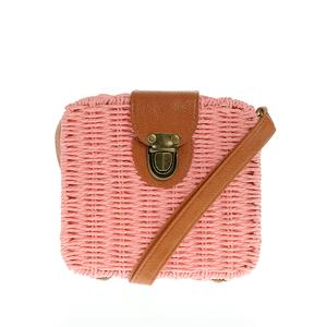 Poseta din paie roz