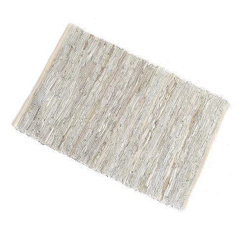 Covor argintiu cu fasii din piele