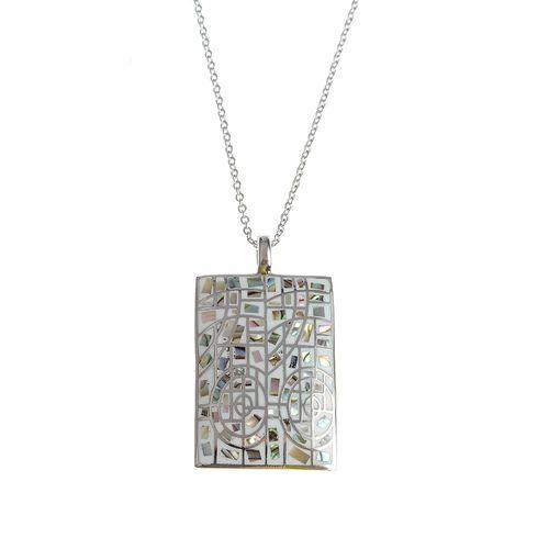 Colier otel, medalion  mozaic
