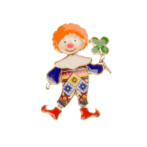 Brosa metalica, clown cu trifoi