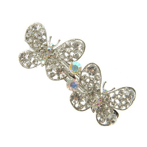 Clama argintie cu flori 2 fluturi