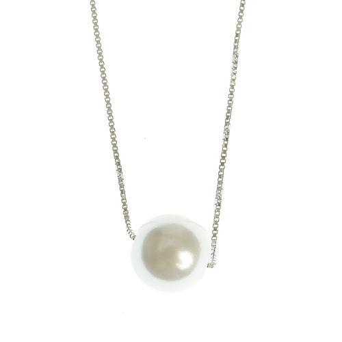 Colier argint perla acrilica alb