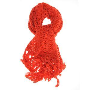 Fular rosu tricotat cu franjuri lungi