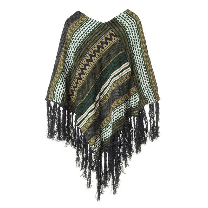 Poncho-tricotat-franjuri-albastri