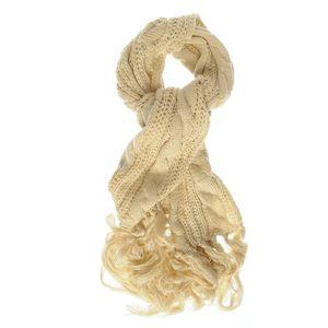 Fular tricotat crem lung