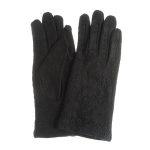 Manusi negre din lana cu dantela