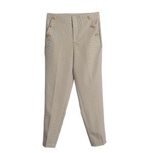 Pantaloni in carouri cu nasturi aurii