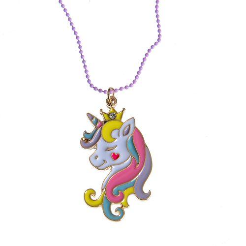 Colier  lila, pandantiv unicorn
