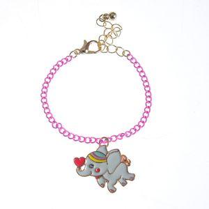 Bratara roz cu pandantiv elefant
