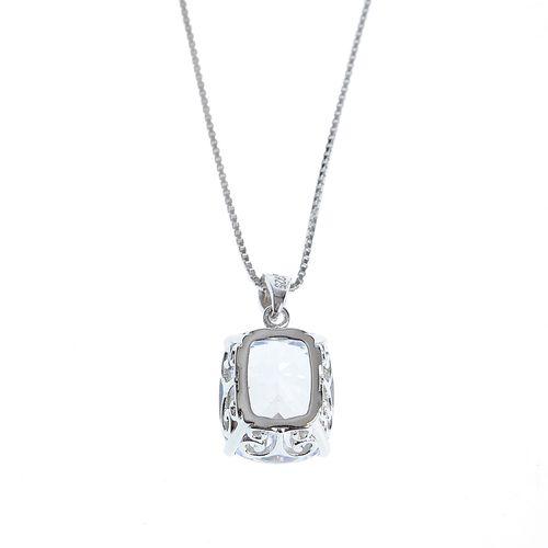 Colier subtire argint cu cristal zirconic