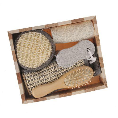 Set accesorii baie in cutie lemn