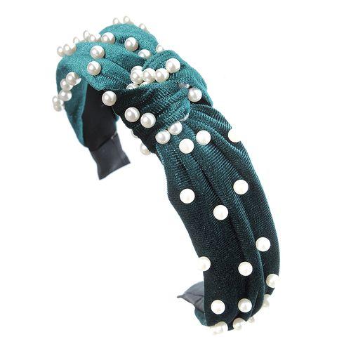 Bentita catifea, cu perle acrilice
