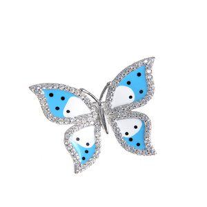Brosa argint fluture bleu