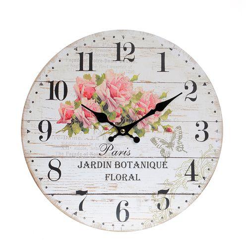 Ceas de perete, imprimeu botanic