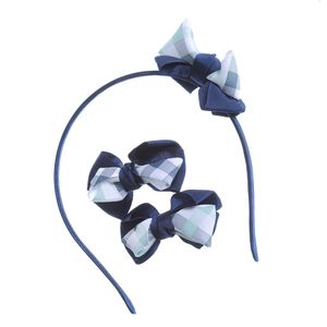 Set accesorii par carouri bleumarin