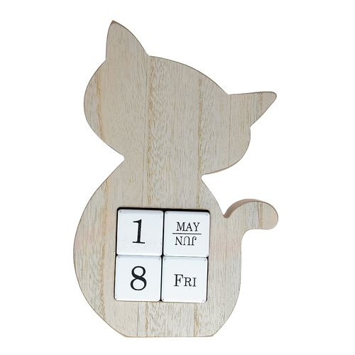 Calendar lemn, pisica