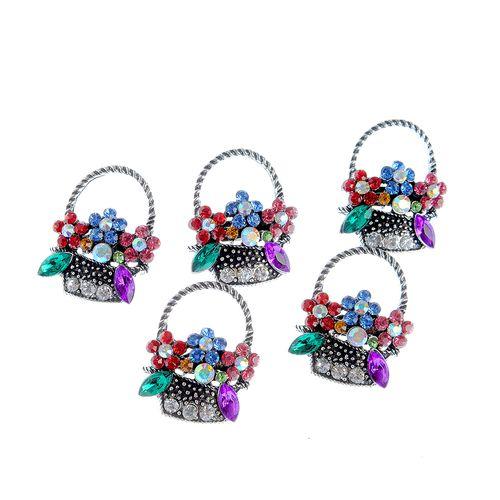 Set 5 brose, cos cu flori