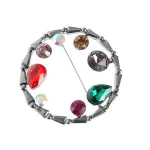 Brosa cununa cu cristale colorate