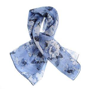 Esarfa matase albastra, cu flori