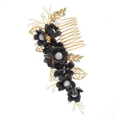 Pieptan elegant, decor negru floral