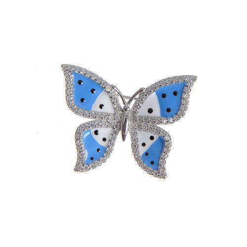 Brosa fluture albastru, din argint