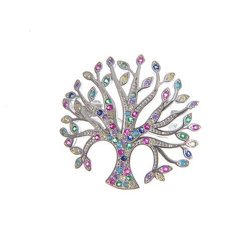 Brosa argint, copac multicolor