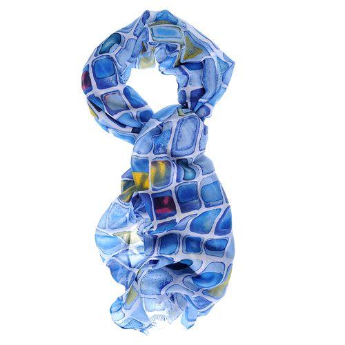Esarfa vascoza cu printuri albastre