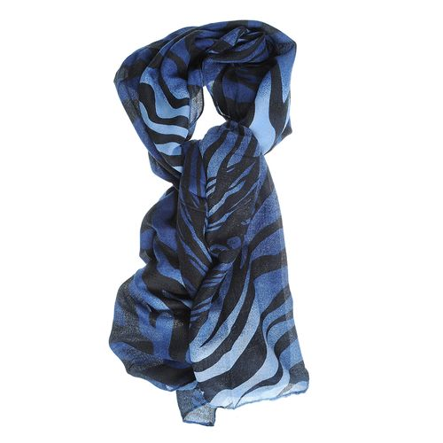Esarfa albastra, imprimeu zebra