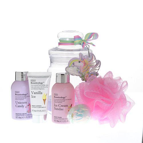Borcan roz, cu produse baie