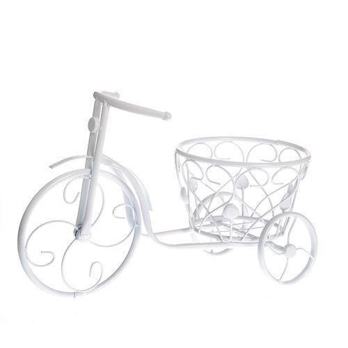 Suport pentru ghiveci bicicleta alba
