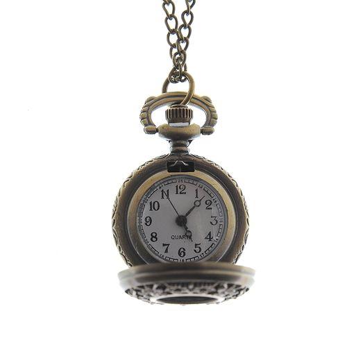 Colier cu ceas, auriu antichizat
