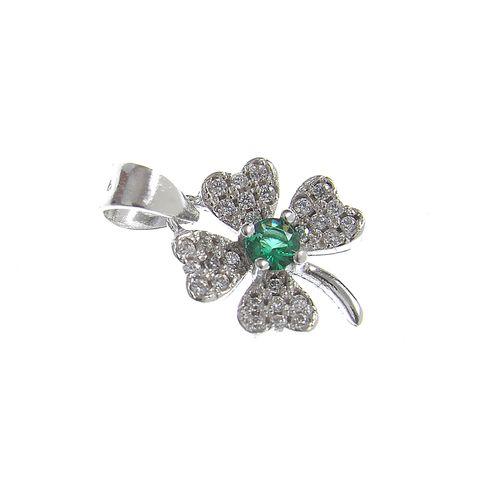 Pandantiv argint, trifoi cu centru verde