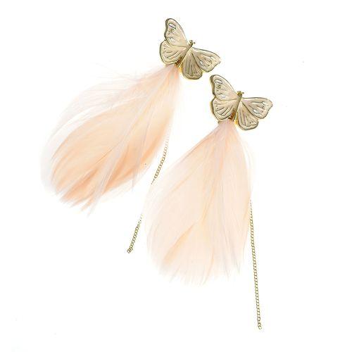 Cercei cu fluturi si fulgi roz