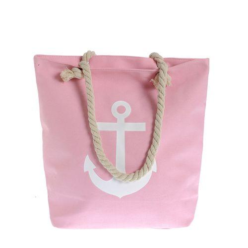 Geanta roz de plaja cu manere