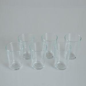 Set 6 pahare cu dungi transparente
