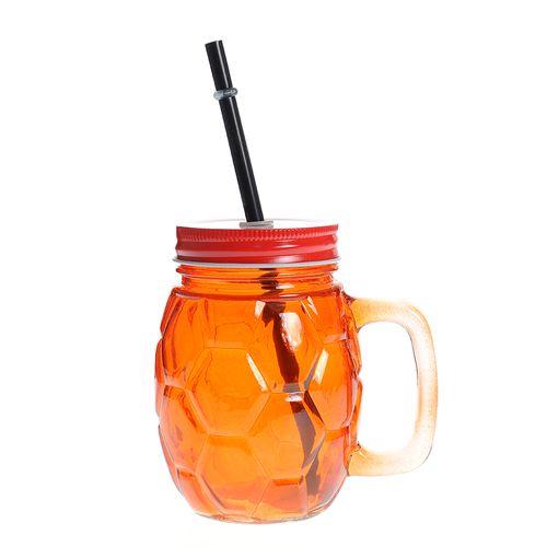 Pahar limonada, cu capac, portocaliu