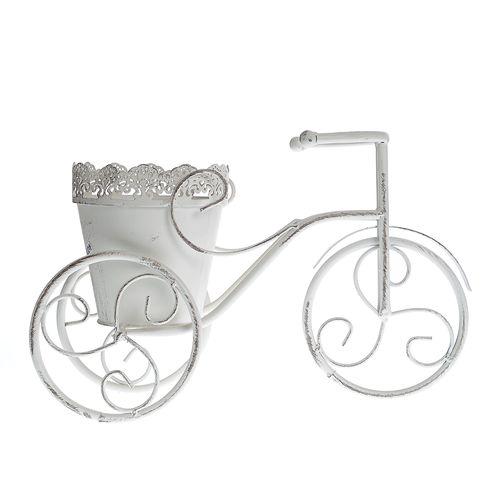 Suport alb flori tricicleta