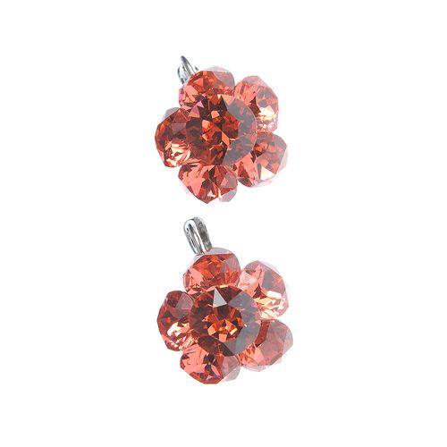Cercei flori roz, cu cristale Swarowski