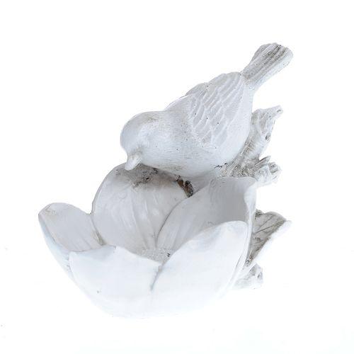 Statueta alba pasare si floare