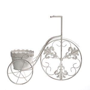 Suport alb ghiveci tricicleta