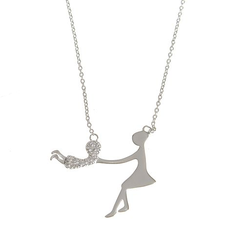 Colier mama fiica argint