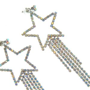 Cercei lungi stea argintie