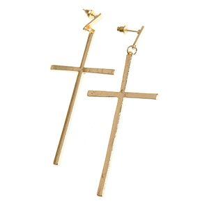Cercei cruce mare auriu