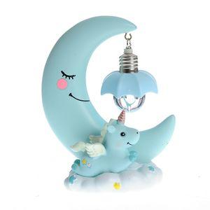 Lampa albastra luna unicorn