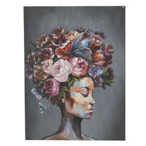Tablou Canvas Doamna cu flori 90 x 4 x 120cm