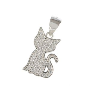 Pandantiv din argint pisica stilizata